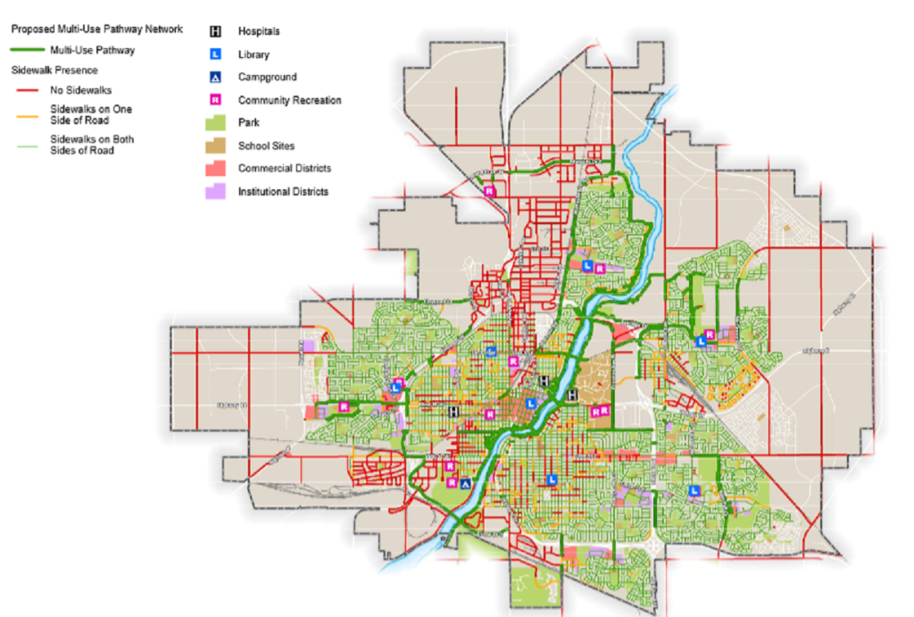Saskatoon's existing sidewalk network.